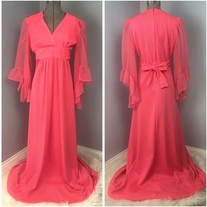 Vintage Pink Bell Sleeve Small Chiffon